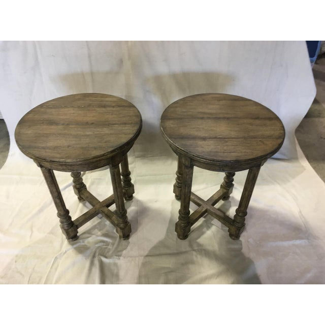 French French Guy Chaddock Attleboro Round Lamp Tables - a Pair For Sale - Image 3 of 3