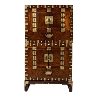 """20th Century Japanese Tansu Chest in Two Stacking Pieces, 30""""w X 14""""d X 66""""h For Sale"""
