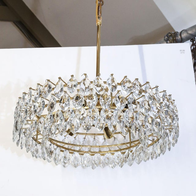 Vintage Austrian Palwa crystal chandelier, circa 1940s-1950s. Newly wired for use within the USA using all UL listed...
