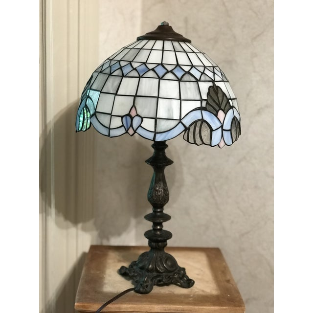 Tiffany Style Vintage Stained Glass Lamp Shade, Brushed Gold Base,Victorian Boudoir, Reduced Final For Sale - Image 11 of 12