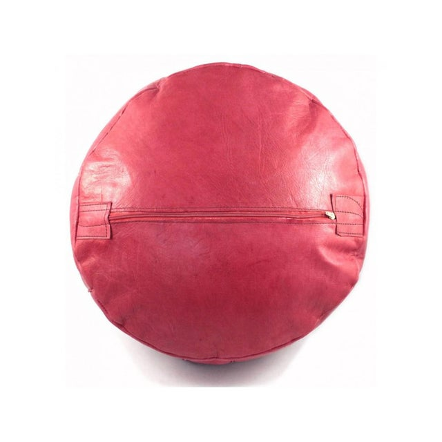 Red Moroccan Leather Pouf For Sale In Portland, OR - Image 6 of 6