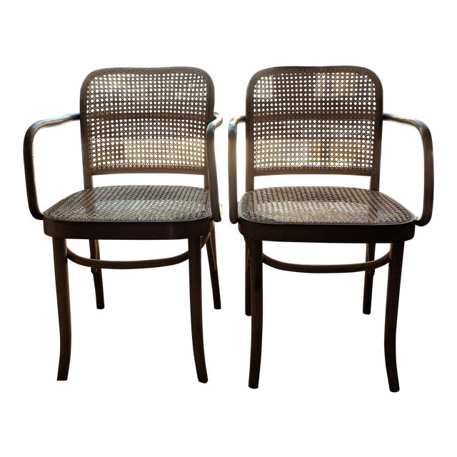 Set of Mid-Century Modern Josef Hoffmann Prague Chairs For Sale