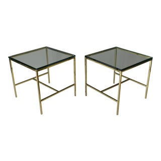 1970s Modern Brass and Glass Side Tables - a Pair