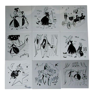 1960s Vintage French Etched Glass Cinderella Panels- Set of 9 For Sale