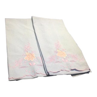 Vintage Blue & Pink Pillowcases - A Pair For Sale