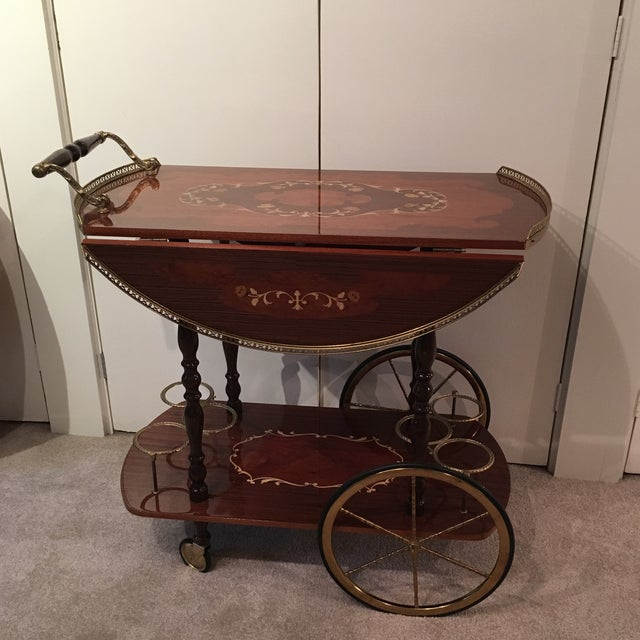 Genuine Italian Marquetry Drop Leaf Beverage Cart - Image 2 of 11