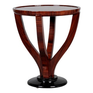 Art Deco Round Palisander Table on Pedestal Base For Sale