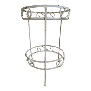 Vintage Mid-Century Outdoor White Two Tier Lamp End Table For Sale