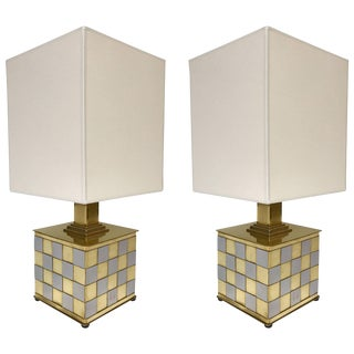 Pair of Brass and Chrome Lamps by Spadafora, Italy, 1970s For Sale