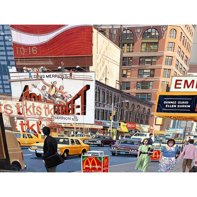 1987 NYC- Times Square Pop Art Original Painting by Matthew Popielarz Realistically painted vibrant view of a busy Times...