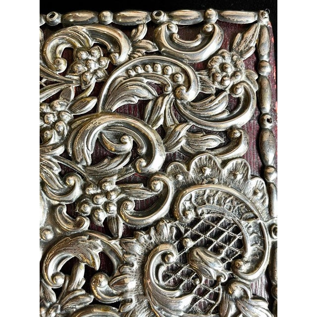 Red Ornate Sterling Silver Book Cover Photo Scrap Album W Red Leather Interior For Sale - Image 8 of 13