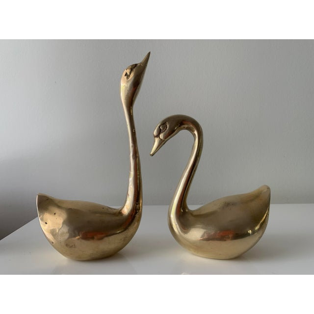 Vintage Brass Swan Figurines - a Pair For Sale - Image 4 of 8