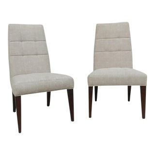 Henredon Furniture Barbara Barry Biscuit Tufted Dining Chair in Walnut - a Pair For Sale
