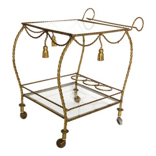1960s Mid Century Modern Gold Gilt Tassle Bar Cart