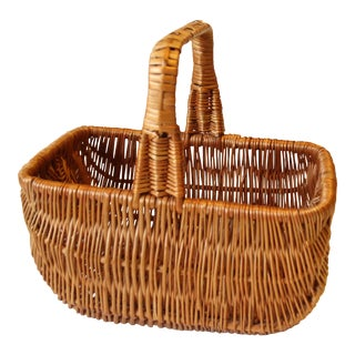 1970s Vintage Solid Wicker Handmade Bread Basket, Flower Basket, Sewing Basket For Sale