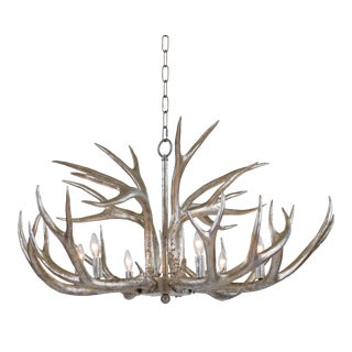 Antler Chandelier in Ambered Silver Leaf For Sale