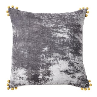 Pewter Silk Velvet Pillow With Pom Pom Accents For Sale
