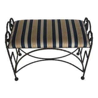 Twist Rope Metal Vanity Bench with Fleur De Lis Detail For Sale