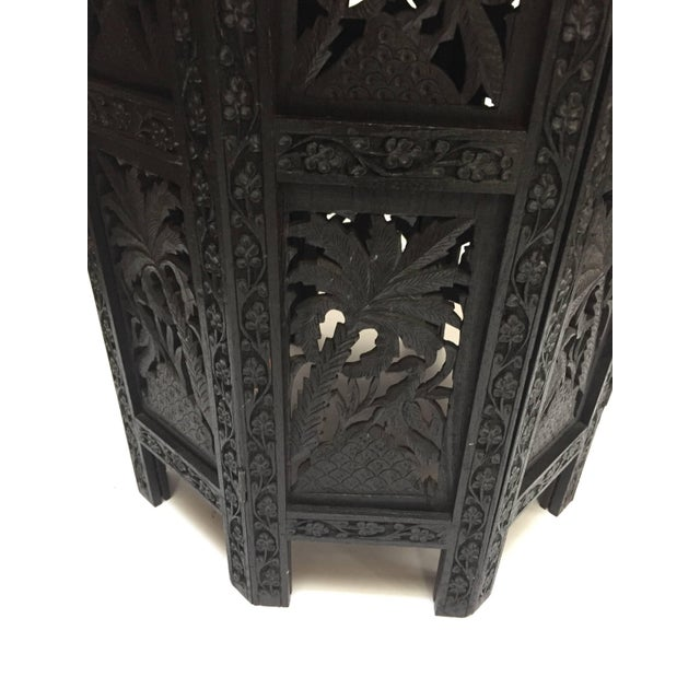 Anglo-Indian black ebonized highly decorative and hard to find finely hand carved and pierced with prolific foliage and...