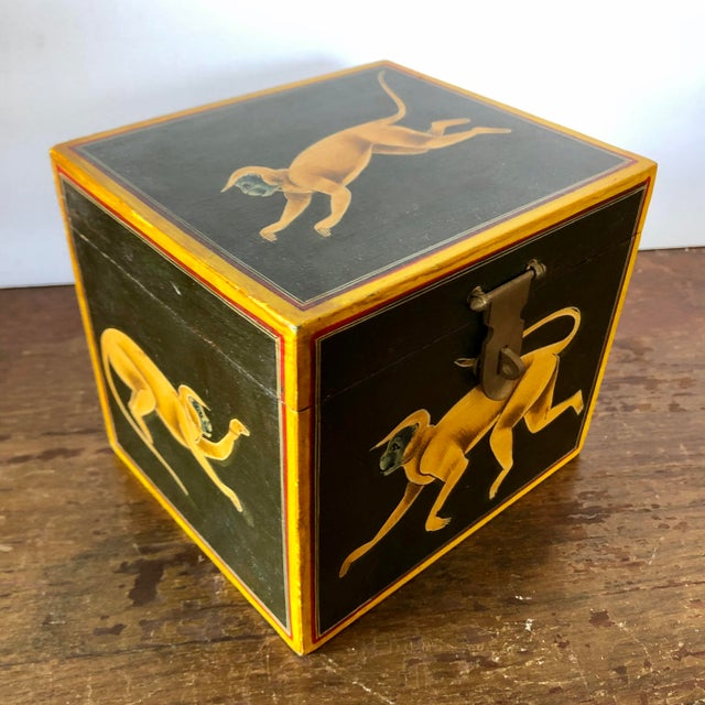 Hollywood Regency Hand Painted Green Yellow Wood Monkey Chest For Sale - Image 3 of 9