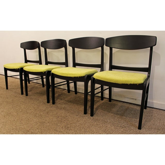 Mid-Century Danish Modern Ebonized 'Citron' Curved Back Dining Chairs - Set of 4 - Image 4 of 11