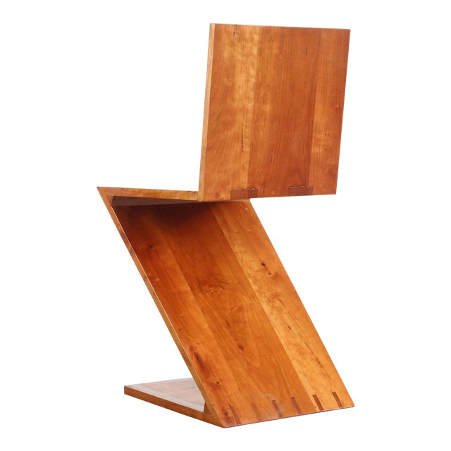 Inspired Vintage Chair Originally Designed by Gerrit Rietveld Called the Zig-Zag Chair For Sale