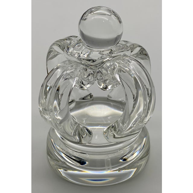 A vintage Steuben Glass crystal crown figurine or paperweight, #8138, designed by Lloyd Atkins. The piece has a unique...