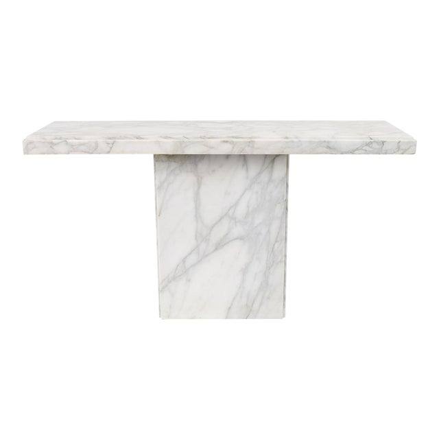 """White Statuario Marble Console Table, 55.25"""" Long For Sale"""