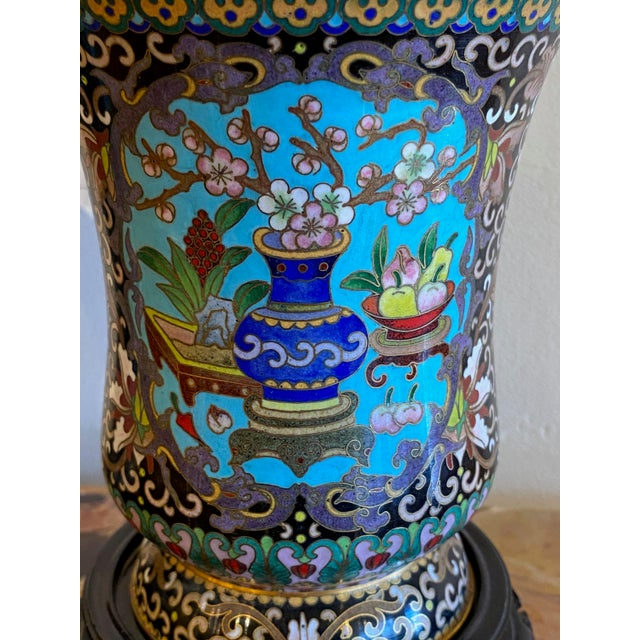 19th Century 19th Century Chinese Cloisonné Vases-a Pair For Sale - Image 5 of 10