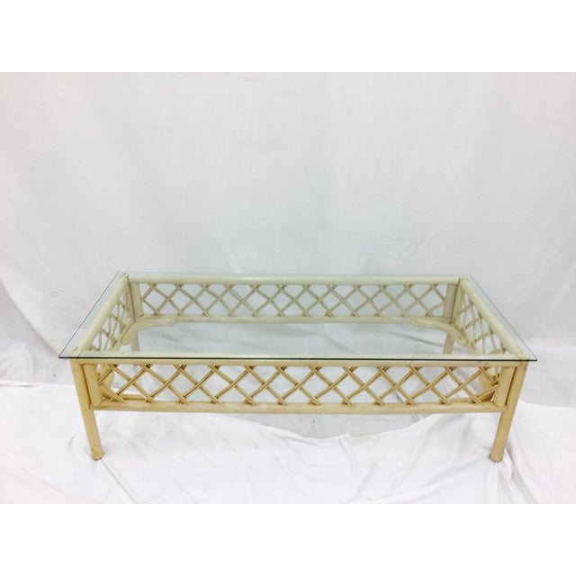 Beautiful Vintage Mid Century Painted Bamboo, Rattan & Glass Coffee Table by Ficks Reed. Great Lattice detail. Classic...