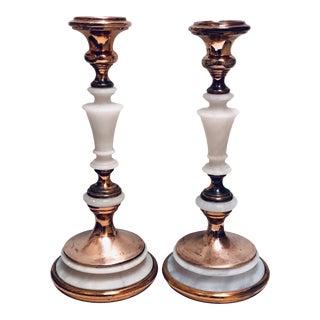 French Alabaster Candlesticks For Sale