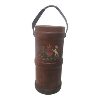 English Leather Fire Bucket Umbrella Holder