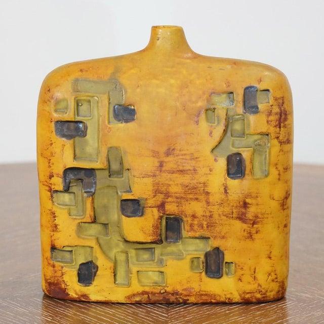 Rare Marcello Fantoni wide shoulder vase for Raymor. Ochre, Green & Black.