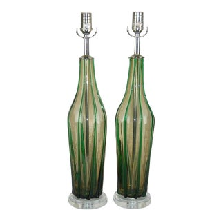Vintage Murano Striped Glass Table Lamps Green For Sale