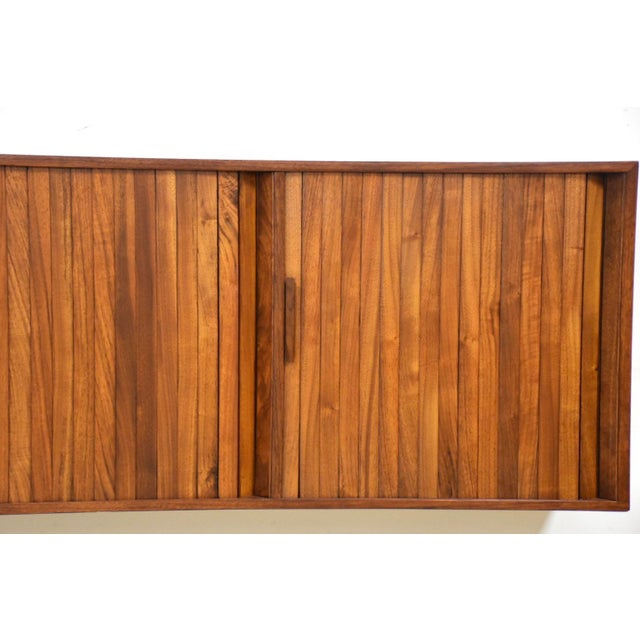 """Brown 108"""" Floating Walnut Tambour Credenza by Furnette For Sale - Image 8 of 12"""