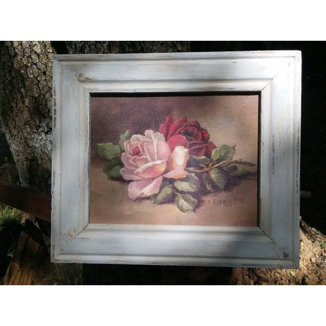 Christie Repasy Wine & Pink Roses Shabby Chic Painting - Image 2 of 5