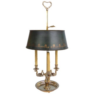 19th Century Silvered Bronze Bouillotte Three-Arm Lamp With Stenciled Tole Shade For Sale