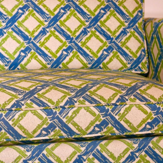 Mid 20th Century Pair of Regency Chinoiserie Tuxedo Settees in Lattice Bamboo Upholstery For Sale - Image 5 of 13