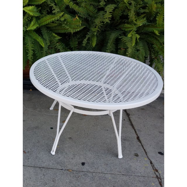 Mid-Century Round White Mesh Side Table - Image 2 of 6