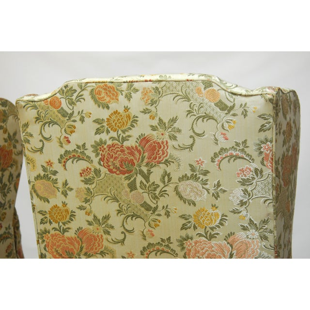 George II Style Brocade Wingback Chairs - A Pair - Image 6 of 9