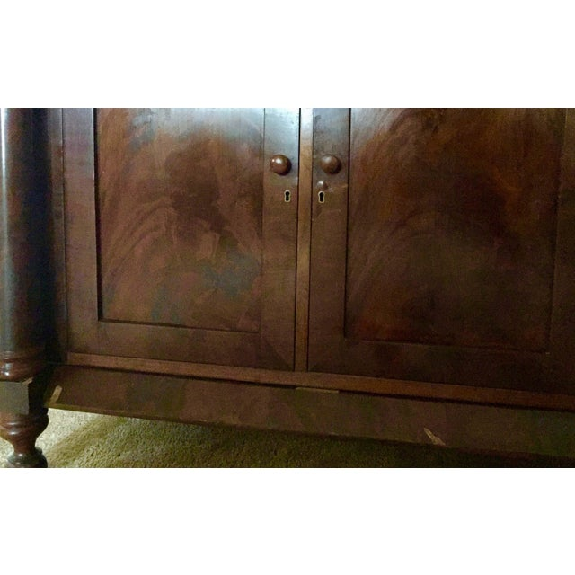 Antique Empire Style Mahogany Veneer Sideboard - Image 7 of 8