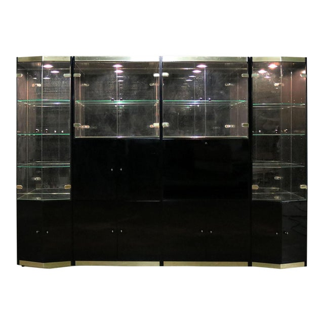 Italian Black Laminate Glass and Brass 4 Piece Modular Freestanding Wall Unit Display Cabinet For Sale