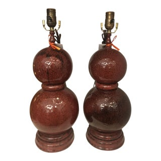 Modern Designer Red Majolica Pottery Gourd Form Table Lamps - A Pair For Sale