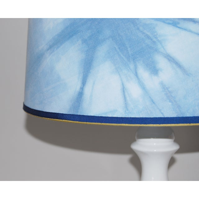 Ceramic Column Lamp With Shibori Lampshade - Image 4 of 5