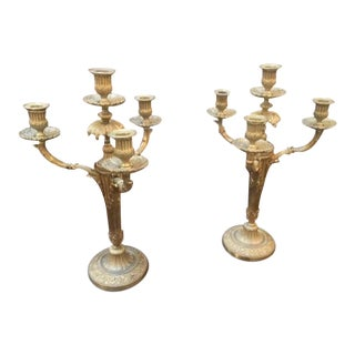19th C. French Dore Bronze Candleabra - a Pair For Sale