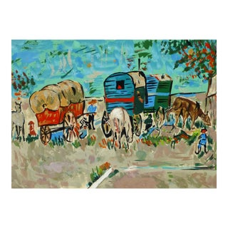 Vintage Watercolor Painting of Horses and Carriage, C. 1950