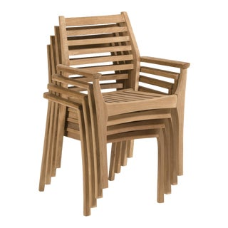 Teak Stacking Outdoor Arm Chair, Natural (Set of 4) For Sale