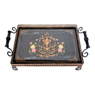 Painted Black Floral Tole Gallery Tray For Sale