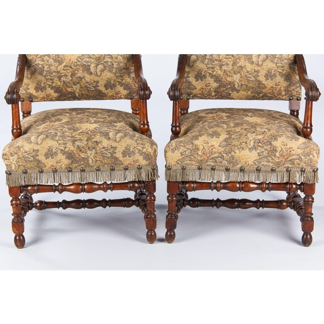 1860's French Louis XIII Style Armchairs - Pair - Image 6 of 10