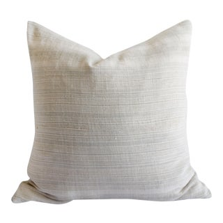 Vintage European Linen Stripe Textile Pillow Natural With Gray Stripe For Sale